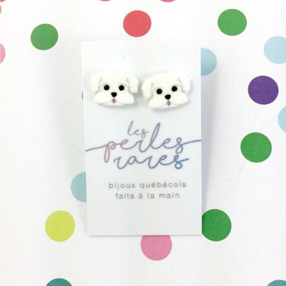 glamorous Maltese, dog earring, white, small, dog, hypoallergenic, plastic, stainless stud, handmade, les perles rares