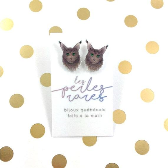 Maine coon cat, earring, catlover, gray hair cat,  plastic, stainless stud, handmade, les perles rares