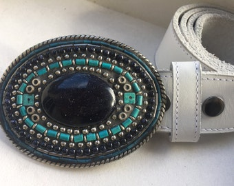 Mosaic Belt Buckle, Cabuchon Buckle, Turquoise Buckle, Western Buckle, Women's Buckle, Buckles for Women, Boho Buckle, Cowgirl Buckle