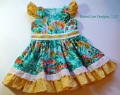Girls Spring Dress,Girls Easter Dress,Special Occasion,Little Girl Dress,Pepper Dress,Toddler Dress,Yellow,Green,18MO,2T,3T,4T,5T,6,7,8,10