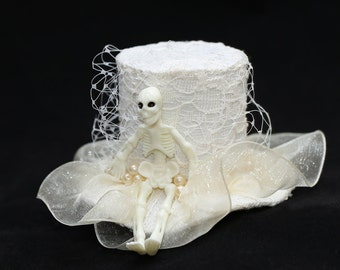 Halloween Top Hat Mini Hat Skeleton Goth Party Accessory
