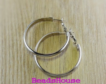 24pcs - (12 pairs)  30mm  Silver  Plated Earrings Brass Hoop Earrings - Nickel Free