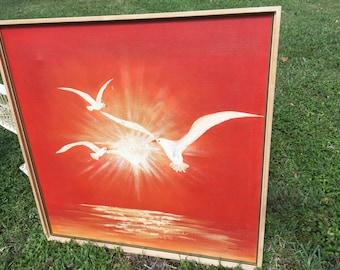 "MID CENTURY OIL Seagulls Upon Orange Sunrise, Mid Century Modern Large, 37.5"" Square Oil Painting at Modern Logic"