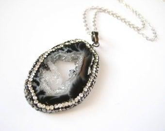 Black and Grey Crystal Encrusted Crystal Oval Shaped Necklace