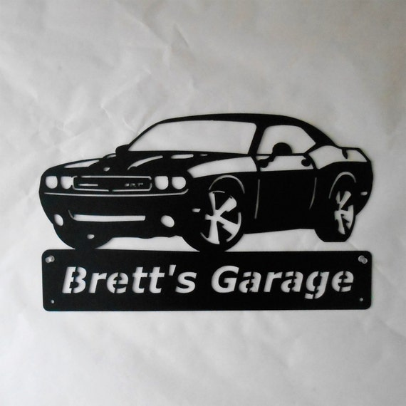 2010 Dodge Challenger SRT Personalized Man Cave Classic Garage Sign Satin Black Mopar