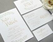 Rustic Wedding Invitations, Laurel Wedding Invitation Suite, Mint and Gold Wedding Pocket Invite Set, Calligraphy Wedding Invites Leaf Green