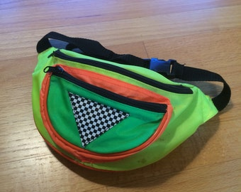 Vintage 80s NEON fannypack new wave yellow green orange black party punk fanny pack 1980s 90s cyber rare club kid flourescent hyper rave