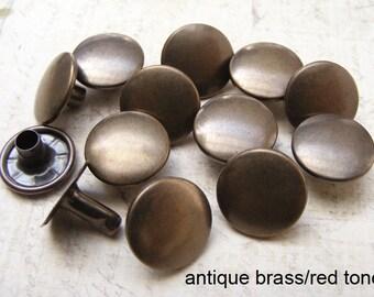 100 sets 13mm  antique Brass FLAT Round Rapid Rivet Stud / japanese rivet