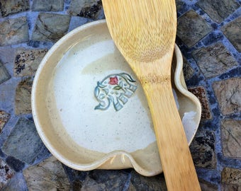 Ready to Ship: Ceramic Spoon Rest Cream Color with Elephant