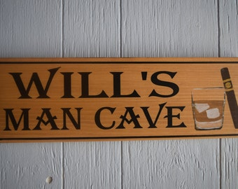 Man Cave, Man Cave sign, Personalized Man Cave Sign, Custom Wood Sign, Gift for him
