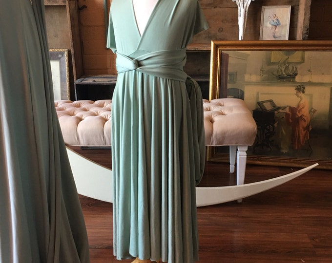 """Ready to Ship~ Child's 22"""" Long  Girls/ Childs Long Succulent Sage Silky Satin Infinity Wrap Dress"""