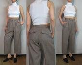 Saint Laurent Rive Gauche Wool Cropped Trousers / Yves Saint Laurent Trousers / Sand Pinstripe Trousers / Wide Leg Pants