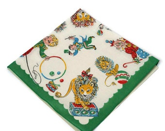Vintage Handkerchief / Children's Hankie / Circus Themed Old New Stock / Old Woman Who Lived in a Shoe / Original Packaging