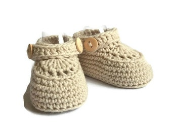 Baby Moccasin Loafers in Beige Merino Wool