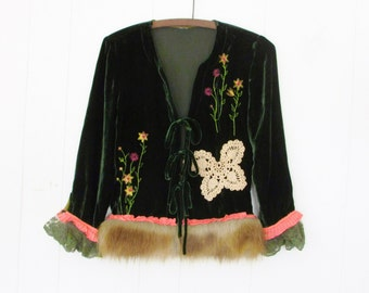 Cersei Throne Jacket,Green Velvet,Eco Altered Faux Fur & Silk Trim,Crochet Butterfly,Embroidered Flowers by Hollywood Hillbilly