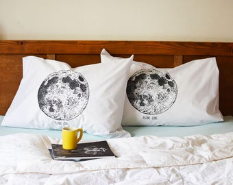 Screen Printed Pillow Cases - Set of 2 Standard Pillow Cases - Pillow Covers - Pillow Shams - Bedding - Pillows - Throw Pillows - Moon Phase
