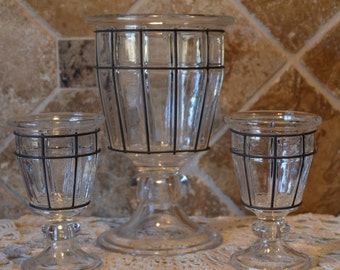 Vintage Handblown Caged Glass Wine/Champagne Pedestal Ice Bucket & Two Matching Glasses