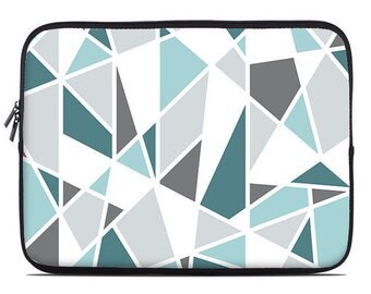 Geometric laptop sleeve, teal, turquoise, gray, laptop cover, laptop case, to fit 10, 13, 15, 17 inch