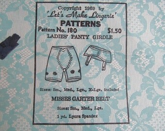 Womens Sewing Pattern Ladies Panty Girdle Lets Make Lingerie 1969 Misses Garter Belt Size Small Medium Large Pattern 180