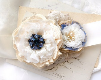 Floral Bridal Sash, Wedding Belt with White and Blue Flowers, Wedding Dress Sash, Floral Wedding Sash, Navy Blue Wedding Sash, Bride Belt