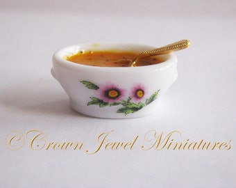 One 1:12 Tureen of Holiday Spiced Pumpkin Soup by IGMA Artisan Robin Brady-Boxwell - Crown Jewel Miniatures