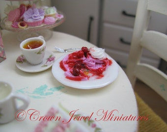 1:12 Valentine's Day Raspberry Cherry Waffles & Whipped Cream For Two by IGMA Artisan Robin Brady-Boxwell - Crown Jewel Miniatures