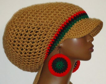 Tan Pan-African Trim Crochet Large Brimmed Cap Hat with Drawstring and Earrings by Razonda Lee Razondalee