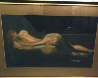 VIntage Framed Nude Study, Pastel on Paper/Under Glass