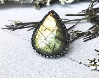 Labradorite Ring - Sterling Silver - Ring Size 6.5 - Handmade - Statement Ring - By Ashley Goings - Goingsnake Silver -