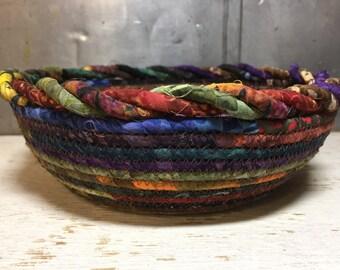 Beautiful Batik Scrappy Cotton Pottery Fabric Coiled Bowl #cottonpottery