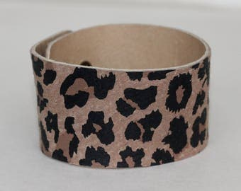 Leather Cuff Bracelet Leopard Print Genuine Leather Brown Tones Leather Cuff