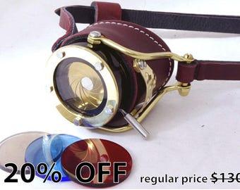 Steampunk Goggle IRIS APERTURE Monocle Victorian Theatrical Goth Industrial Brass LARP Brown