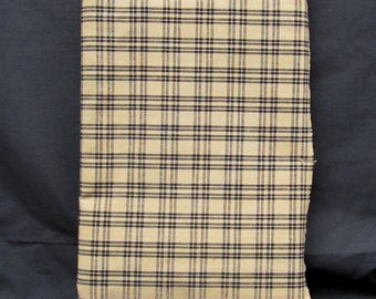 Homespun Fabric - Tan with Black Window Pane Lines