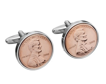 7 year wedding anniverary Gift for Men -Copper US 1 cent Cufflinks - Includes presentation box - 100% satisfaction - 3 day delivery option