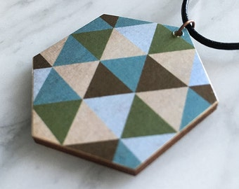 Wooden pendant, hexagon, geometric, leather cord, colourful triangle pattern, olive, slate cream, pale blue, style 41