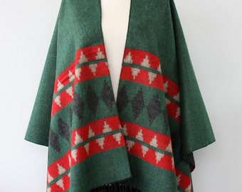 Green poncho native american clothing women ponchos aztec wrap mexican poncho geometric cape fall autumn fashion christmas gift for her
