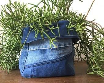 """Denim Container / Plant Cover - MEDIUM SIZE 8"""" pot planter bin cover recycled"""