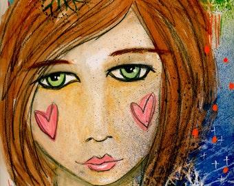 Mixed Media Girl Giclee Art Print Original Art Print 8x10