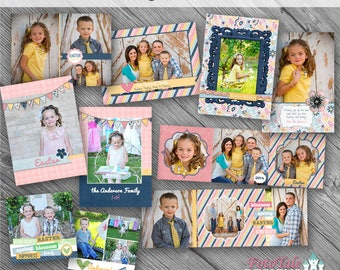 Easter Blessings Card Collection- Set of 5 double-sided photo card template