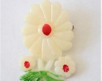 Vintage plastic flower brooch.  3 flower brooch