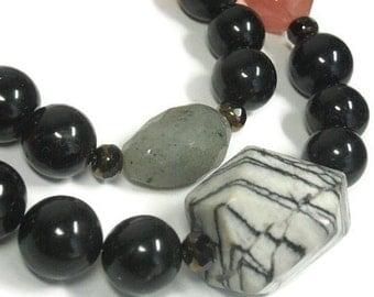 Statement Jewelry, Layered Gemstone Necklace, Super Chunky Chalcedony Necklace, Sharkskin, Stone Nuggets, Boho Bohemian, Rocker, Dusty Cedar