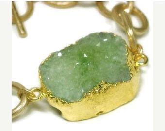 Sale| Mint Green Druzy Bracelet - Gold Druzy Bracelet - Druzy Nugget Bracelet - Drusy Bracelet - Chunky - Chain and Druze Nugget - Crystal -