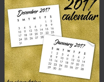 2017 Mini Calendar Clip Art - DIY Calendar - Instant Download