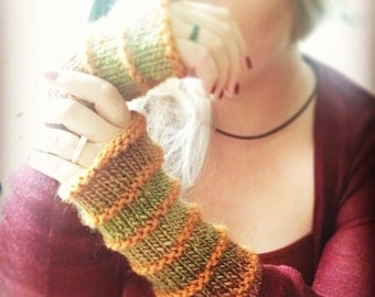 Wildling Knits Pair of Pumpkin and Leafy Greens Arm Warmers