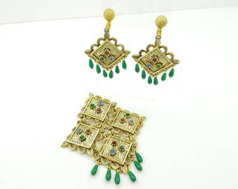 Sarah Coventry Temple of Lights Brooch and Clip earrings 1967 mint condition