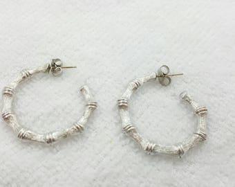Avon Bamboo Hoop Pierced earrings  Silver tone