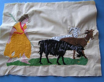 Vintage Embroidered Panel Shepard And 3 Goats Figural Images