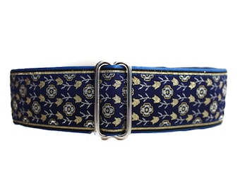 Wide Dog Collar, 1.5 Inch Martingale, Blue Martingale Dog Collar, Blue Dog Collar, Jacquard Dog Collar, Greyhound Collar, Wide Dog Collar