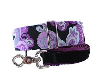 Martingale Collar and Leash, Purple Martingale Collar, Purple Velvet Leash, Greyhound Martingale Collar, Paisley Dog Collar and Leash