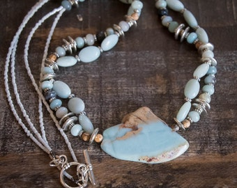 Necklace Double Strand with Aqua Terra Jasper Pendant